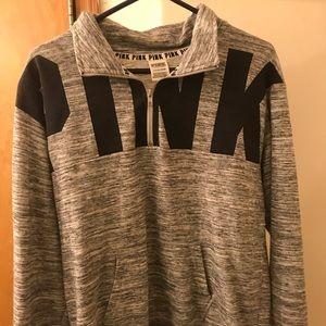 VS Pink - Gray Long Sleeved Sweater/Quarter Zip